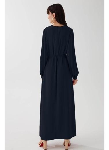 Vivencia Kolları Pile Detaylı Kadın Elbise Somon Lacivert